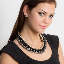 Collar Con Aretes Cadena Negro Y Dorado - Gossip Collection