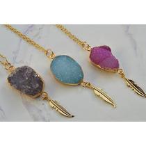 Collar Druzy Agata Chapa De Oro 24k