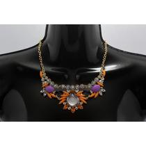 Collar Moda Flores Naranjas, Moradas, Cristales Y Aretes