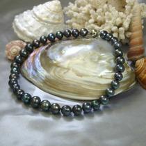 Collar De Perlas Negras Naturales De Los Mares Del Sur