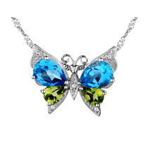 Topacio Azul Y Peridot De La Mariposa Del Collar Pendiente D