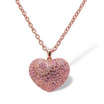 Cristal Rose Oro-chapado Corazón Colgante Y Cadena