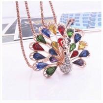 Cristales Del Pavo Real Colgante De Collar De C C Colores