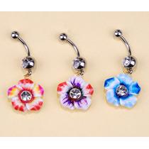 Piercing Para Ombligo Flor Laminado Con Oro 18q Varios Color