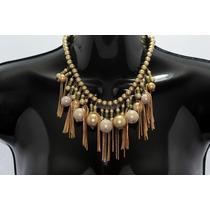 Collar Moda Esferas, Cadena, Perlas Y Flecos Dorados