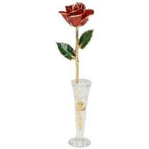 24k Oro Rojo Rose W / Florero Cristalino Por Gold Vivir - Bi
