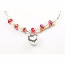 Pulsera Plata De Perlas Y Cristales Rojos C/dije Corazón