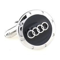 Mancuernillas Audi Logo Automovil Alemania Plateado Y Negro