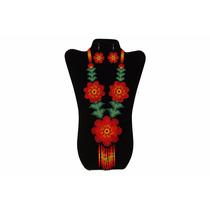 Collar De Chaquira Con Aretes Arte Huichol