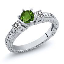 0.70 Ct Verde Chrome Diópsido Sterling Silver Ring