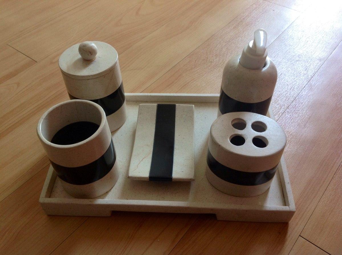 Juegos De Baño Rojos:Juego De Baño De 6 Piezas En Mármol Y Onix Color Beige-negro – $ 549