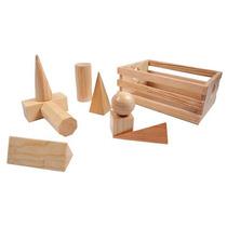 Cuerpos Sólidos Geométricos Montessori 9 Pzs 100% Madera Dml