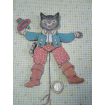 Juguete Antiguo Gato Con Botas En Madera 50