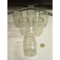 Vintage Set De 6 Vasos En Forma De Barril De Corona Para Bar