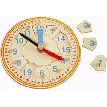Reloj Redondo Grande Con Pijas De Madera 12pz Mad