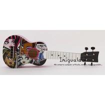 Guitarra Acustica Para Niñas Blanca Con Negro De Monster Hig