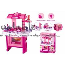 Cocina Para Niñas Deluxe Rosa Con Luces Y Sonidos
