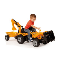 Tractor Retroexcavadora Remolque De Pedales Juego Para Niños