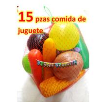 15 Pzs Comida Juguete Frutas Verduras Replica Escenografía