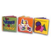 3 Libros De Tela Contar Vocales Geometria 10x10cm Bebé Boom