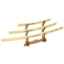 Set 3 Shirasaya Katana Espada Con Lacado De Madera Y Base