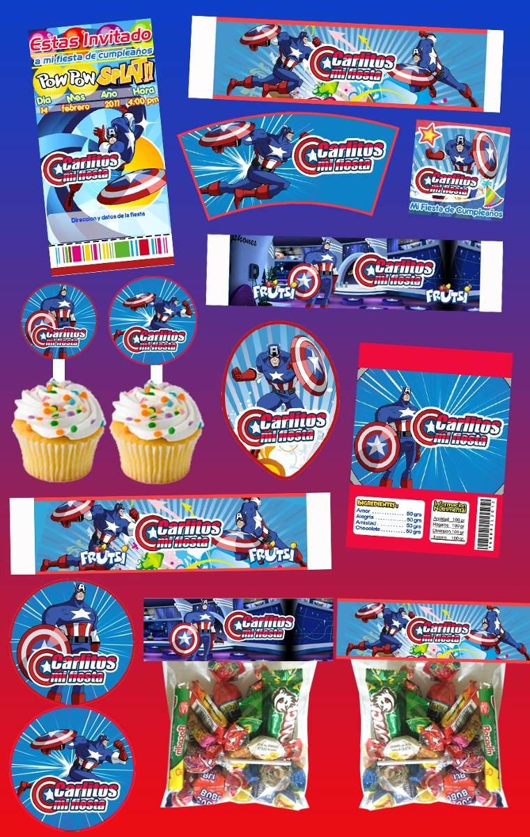Kit Imprimible Capitan America Personalizado 30 Etiquetas - $ 89.00 en