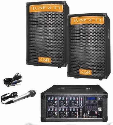 Kit Mezcladora Amplificada 6ch Usb Display 2 Bafles 15