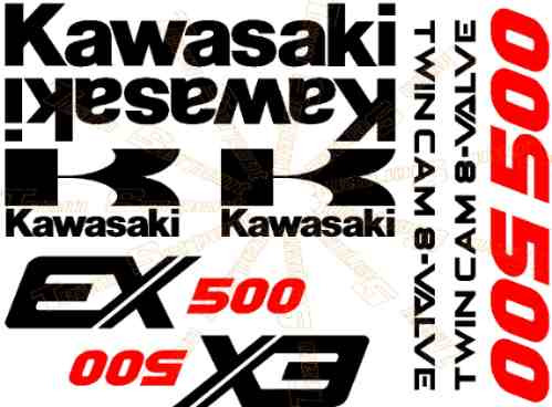 Kit Stickers Calcomanias Moto Kawasaki Ex500 Años 87 Al 93 ...