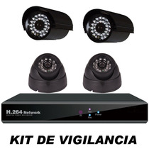 Kit Cctv Videovigilancia 4 Cámaras Dvr Cables Internet