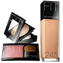 Kit Maybelline Fit Me, Base, Rubor, Polvo - Tono Claro