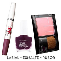 Kit Maybelline I Love Framboise (rubor + Esmalte + Labial)
