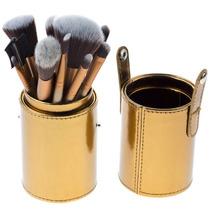 Set De 12 Brochas Doradas Para Maquillaje Con Estuche M3040