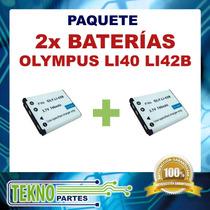 Kit Dos Baterías Olympus Li40 Li42b Casio Np-80 Np-82