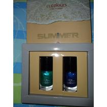 Juego De Esmaltes Brillosos Azul Y Verde Cristhian Lay
