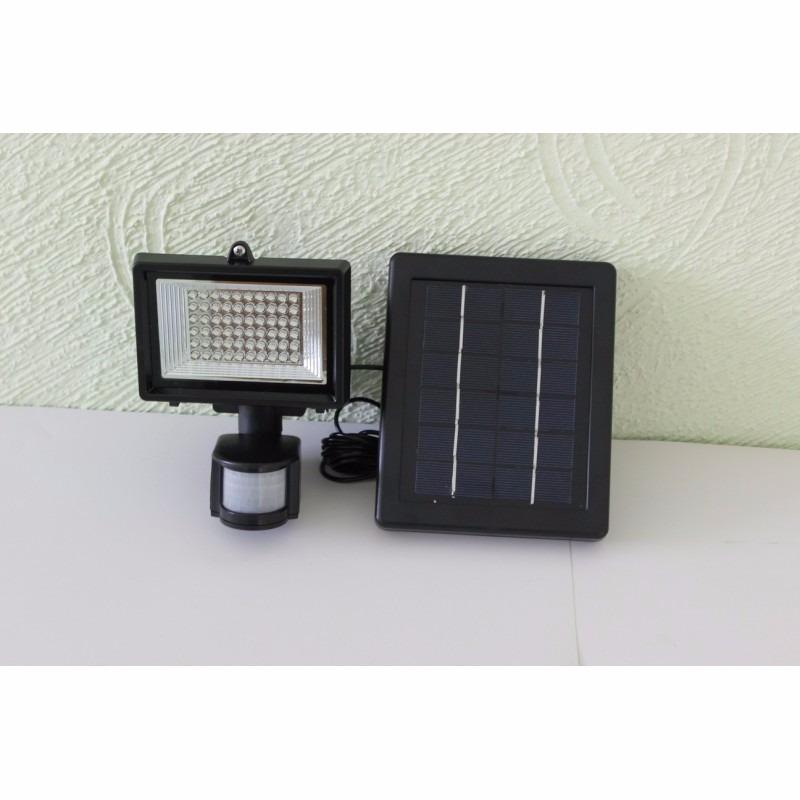 L mpara solar de seguridad 60 leds para exteriores panel for Lampara solar pared exterior