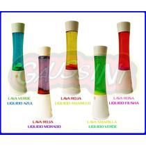 Lampara De Lava 40cm Groove Base Blanca Aluminio Liq Color