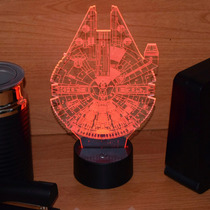 Lámpara Led Rgb 3d Acrílico Halcón Milenario Star Wars Video