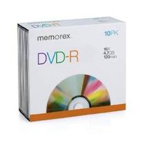Memorex 4.7gb / 16x Dvd-r 10-pack Delgado Caso