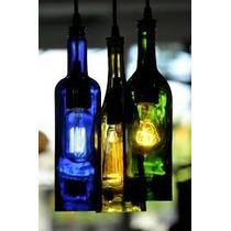 Lampara Colgante Botella Vino Sin Fondo Lista Para Colocar