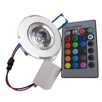 Spot Empotrable Led Rgb 3w Control Remoto 16 Colores Dimmer