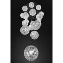 Candil Moderno Monumental 18 Esferas De Cristal / Cromo Cl