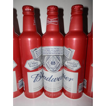 8 Botellas De Aluminio Cerveza Budweiser Con Liquido Nuevas