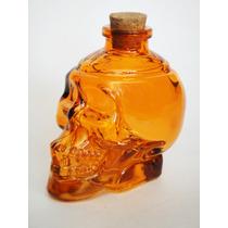 Botella De Vidrio Vacía Cráneo Calaca En Naranja Licoreras