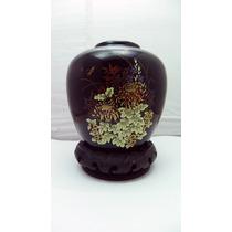 Jarron De Fina Porcelana Japonesa, Base Maderacoleccionable.