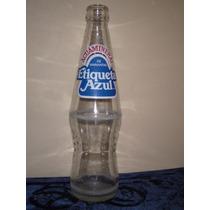 Botella Antigua De Refresco Etiqueta Azul Tehuacan
