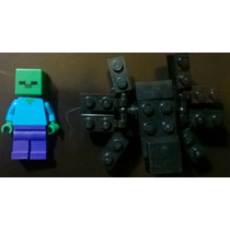 2 Figuras Lego Minecraft Zombi + Spider Araña Originales