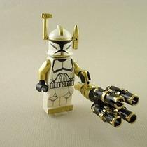 Mini Figura De Lego Clone Trooper Comandante Arco De Oro Gat