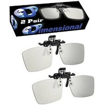 2 Pares - Adulto Clip-on Pasiva 3d Gafas Genuino Edimensiona