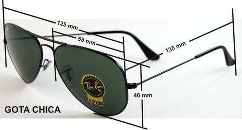 Lentes Ray Ban Gota Chica 55 Mm. Aviator Rb 3025 Large Metal