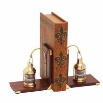 Sujeta Libros De Madera Con Linterna Antigua Marina 15x15cm